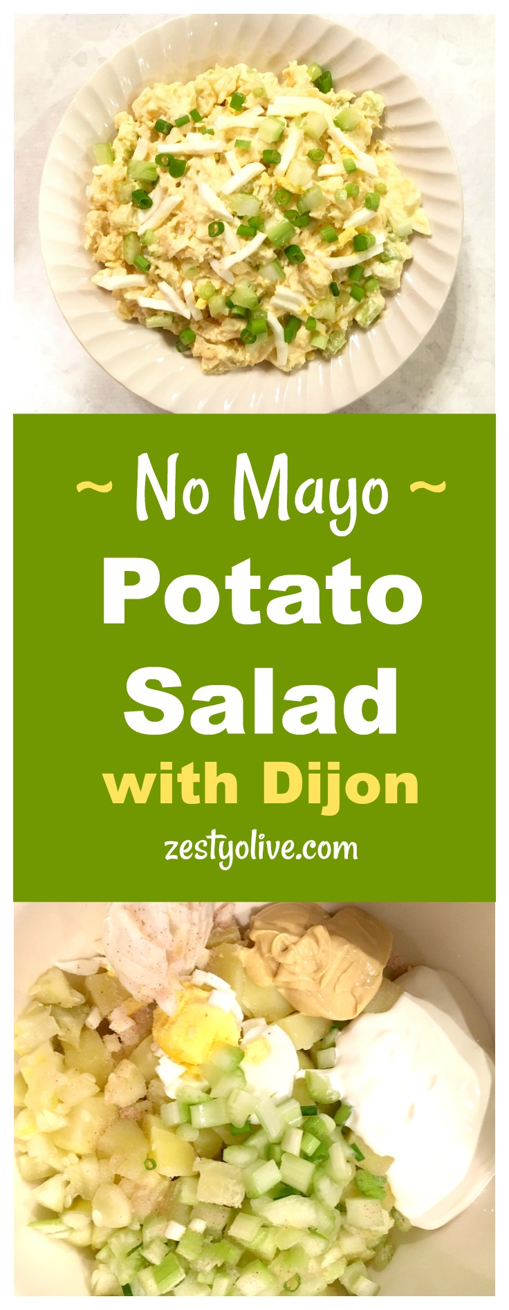 This Easy No Mayo Potato Salad Recipe is will become a favorite at your next picnic, BBQ or potluck. This potato salad is elevated by the spicy addition of Dijon mustard. Sour cream replaces the mayonnaise and the addition of egg, celery, green onions and dill pickle make this a zesty potato salad worthy of your next gathering.
