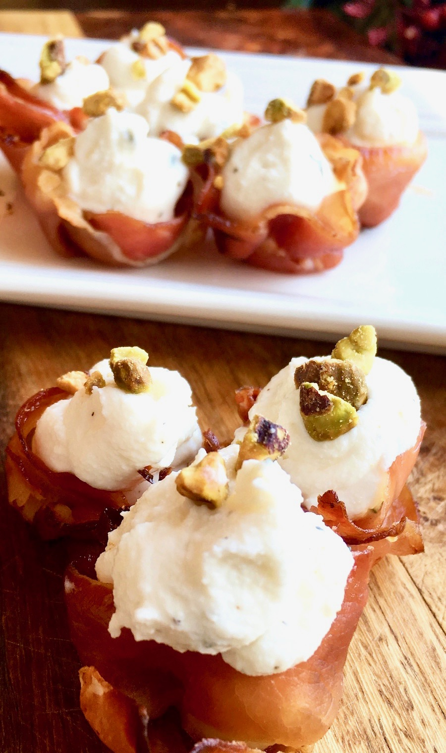 Whipped Goat Cheese and Pistachio Stuffed Prosciutto Cups