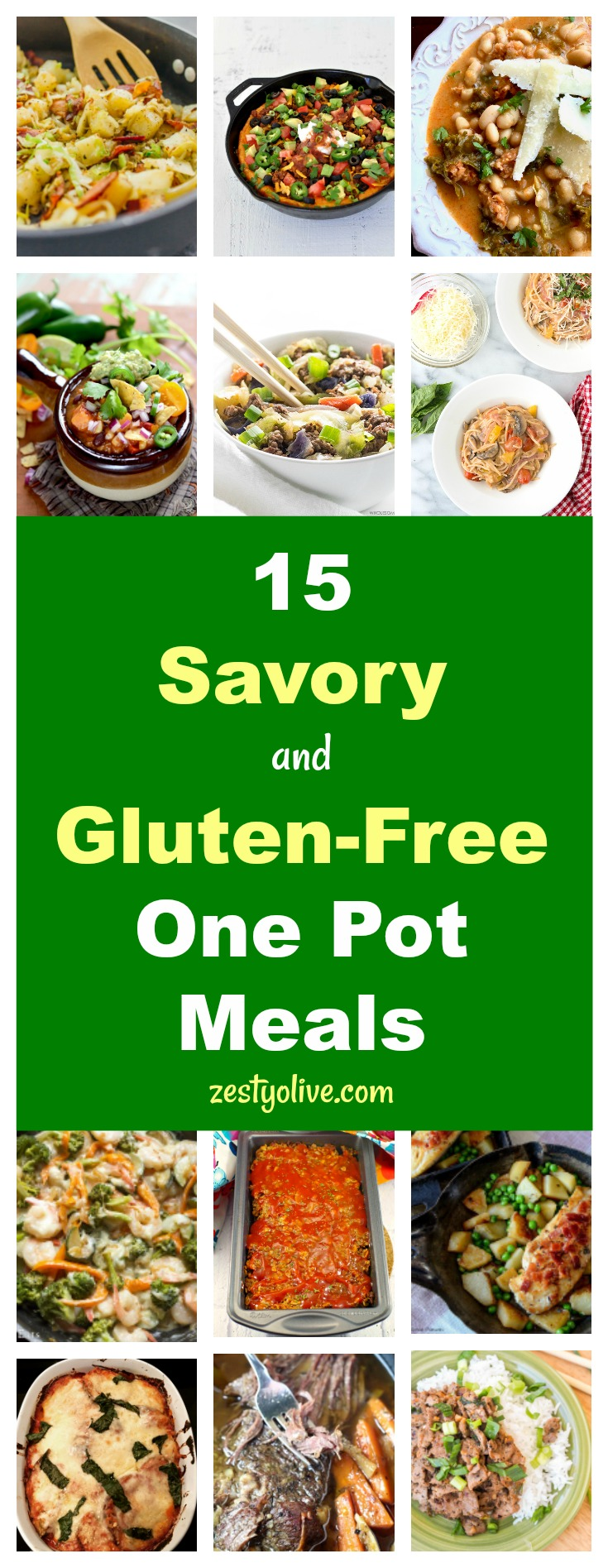 Keep effort to a minimum by whipping up a savory and gluten-free meal in just one pot! Here are 15 one pot savory and gluten-free meals to add to your  meal planning rotation for those days when you just Can't. Even. with the dishes.