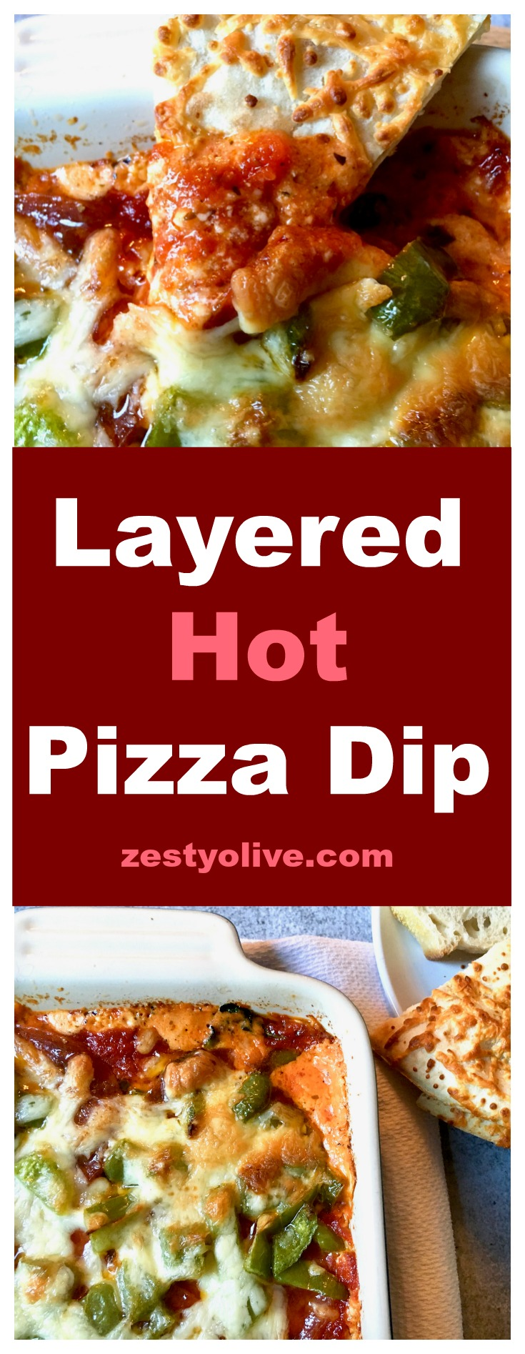 This easy Layered Hot Pizza Dip is perfect for game day parties or anytime you need a cheese fix! Packed with a variety of cheese, veggies and pepperoni, this dip is perfect for Super Bowl parties and beyond.