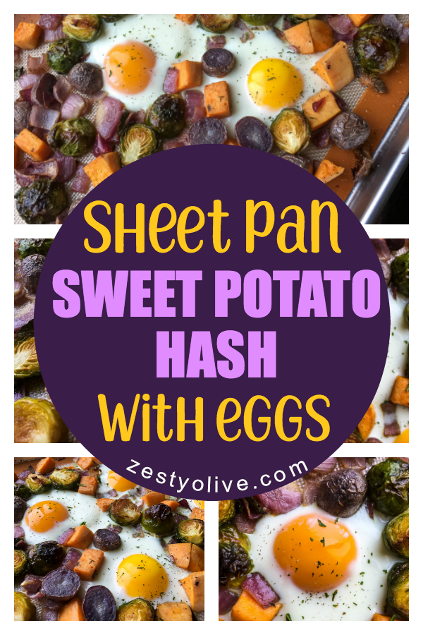 Sheet pan meals are a time saver and this Sheet Pan Sweet Potato Hash With Eggs recipe is no exception. This is a savory twist on the classic eggs and potatoes bake, perfect for breakfast or dinner.