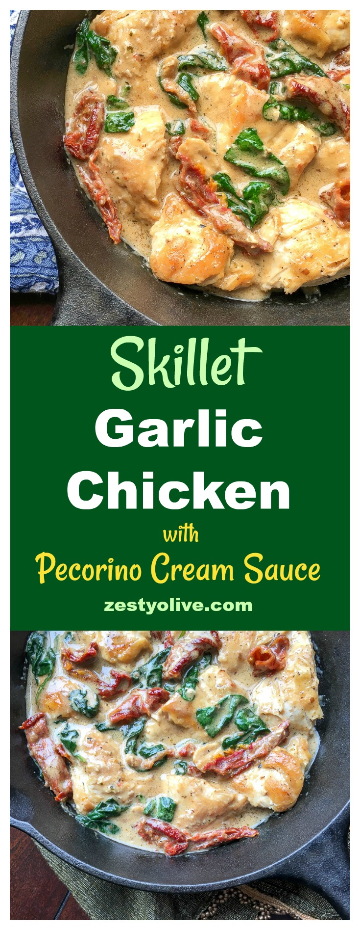 Bring a taste of Tuscany home with this simple, quick and delicious recipe for Skillet Garlic Chicken with Sun-dried Tomatoes and Pecorino Cream Sauce.