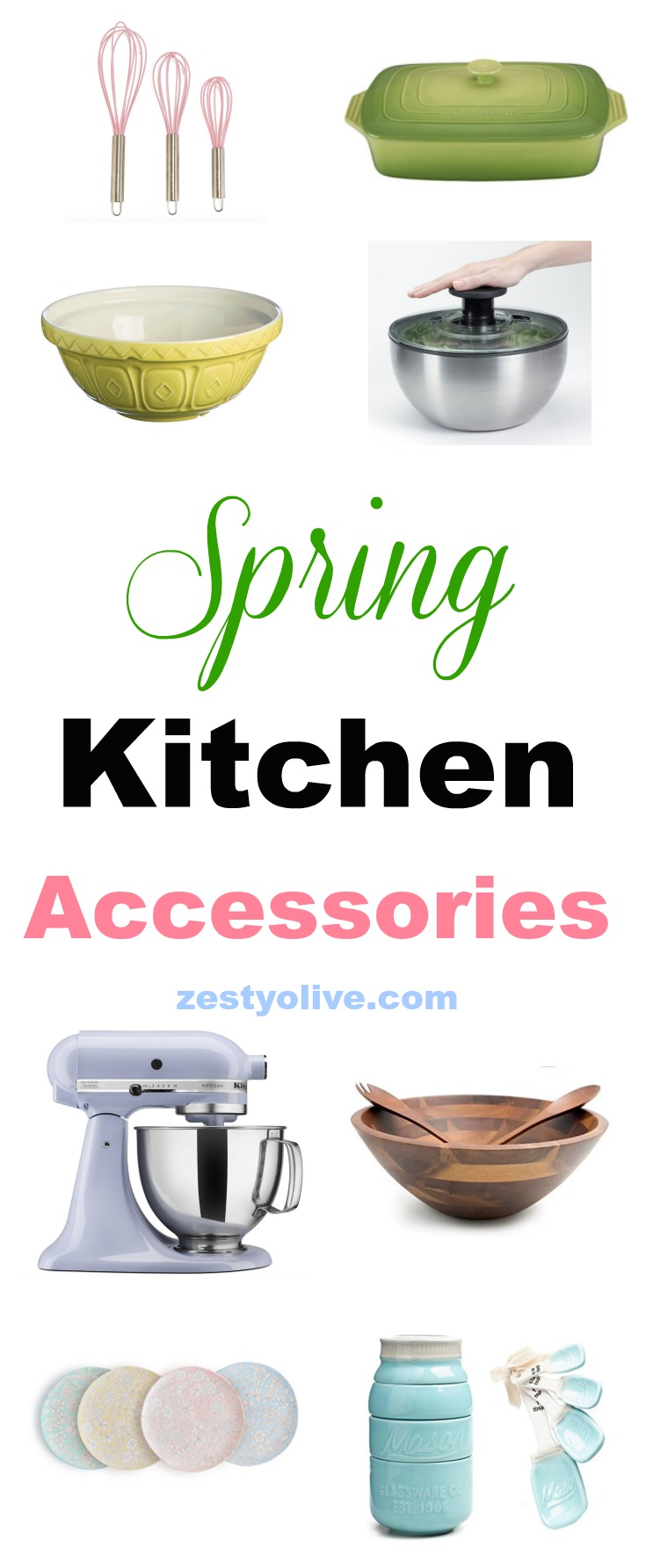 Functional kitchen accessories get a spring decor makeover with hues of yellow, blue, green and pink to brighten up the space. This list is proof that tableware, gadgets and appliances can usher in spring without compromising practicality.