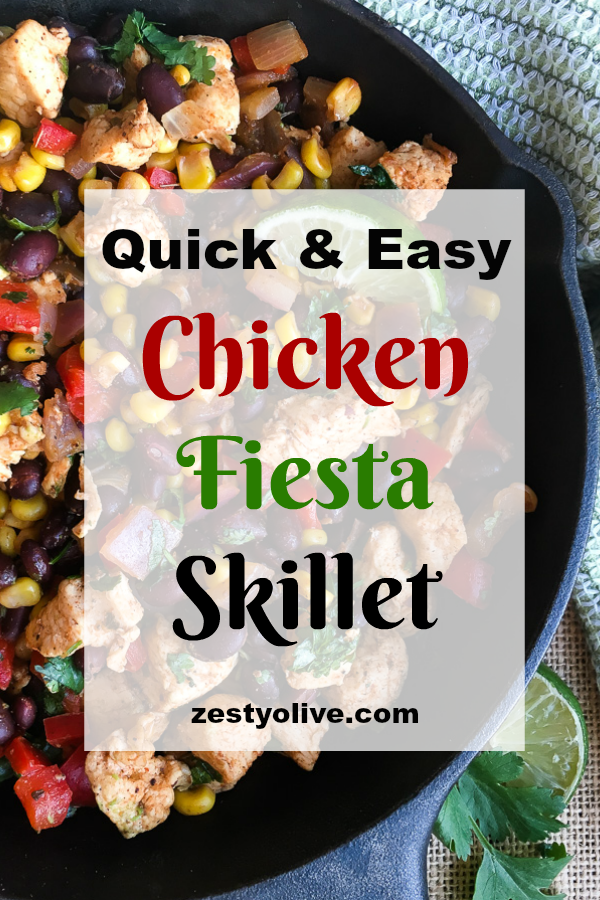 This quick and easy one-pan chicken fiesta skillet can be on the table in just 30 minutes. It's a healthy and satisfying meal perfect for busy weeknights. You can easily pair it with yummy sides like rice and refried beans, or even a fresh salad.
