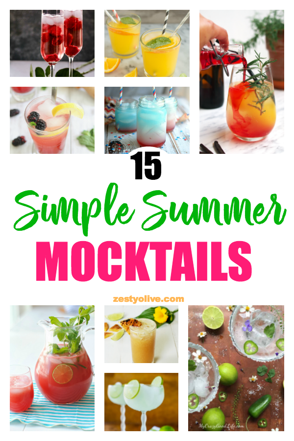 Celebrate at your next party with one or more of these 15 simple summer mocktails. Perfect for any holiday, such as 4th of July, Cinco de Mayo, Mother's Day, Father's Day, brunch or any gathering where you want a refreshing, fruity alcohol-free cocktail.