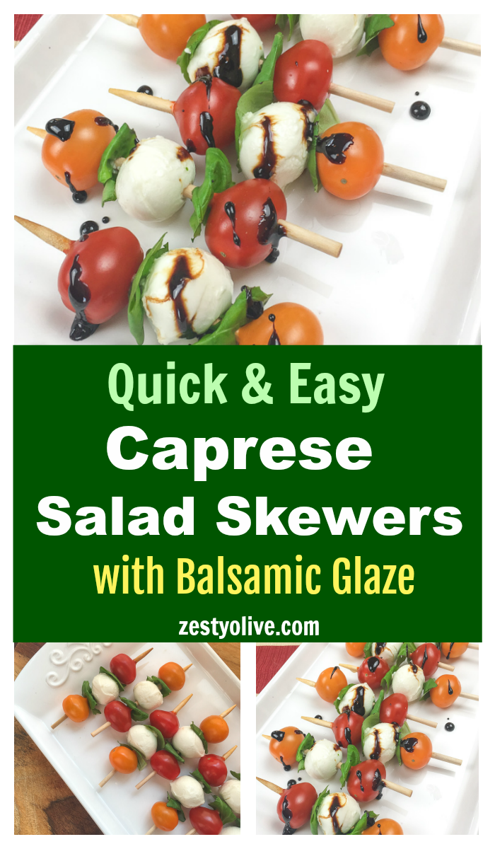 This quick and easy appetizer is sure to be a hit at your next party. Traditional elements of a Caprese salad, tomato, basil and mozzarella are arranged on a short skewer for an instant and savory appetizer. Drizzle with a rich balsamic glaze and serve.