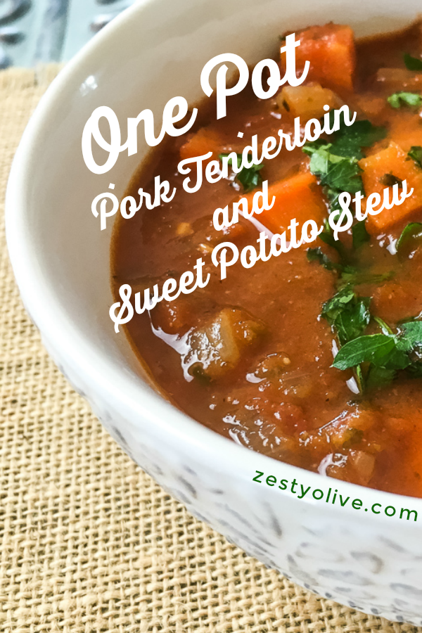 This quick and flavorful one pot Dutch Oven Pork Tenderloin And Sweet Potato Stew is super easy to put together on a busy weeknight. My dutch oven does all the work to keep the pork tender while perfectly cooking the spicy veggies for a delicious melt-in-your-mouth hearty stew.