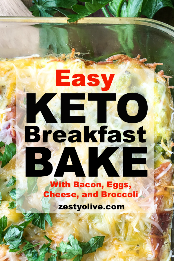 Try this easy Keto Breakfast Casserole with eggs, bacon, cheese and broccoli. It's so delicious and easy to put together that we like it for dinner, too!